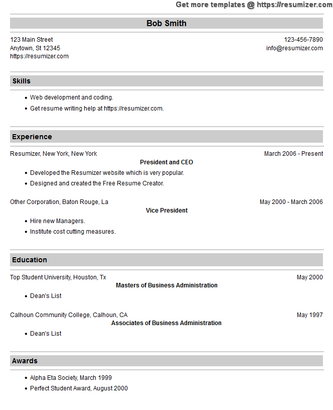 exle of resumes for my resume template