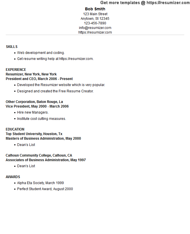 resume example style 2