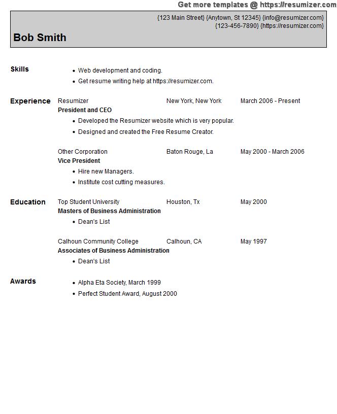 Resume Creator: Resume Design Style 21 FREE Resume Creator