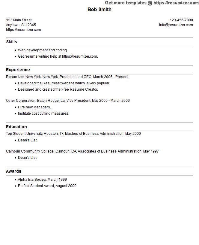 ascii resume samples
